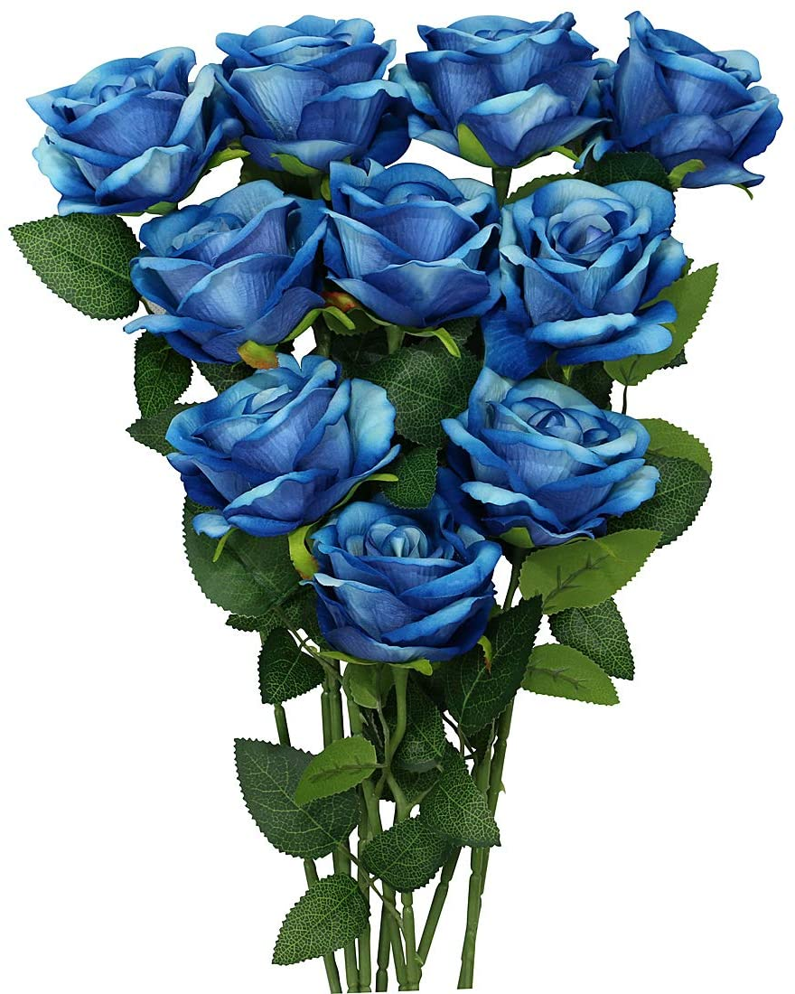 Omygarden 10PCS Blue Artificial Flowers Bouquets, Fake Flannel Roses, Wedding Party Home Office Decoration