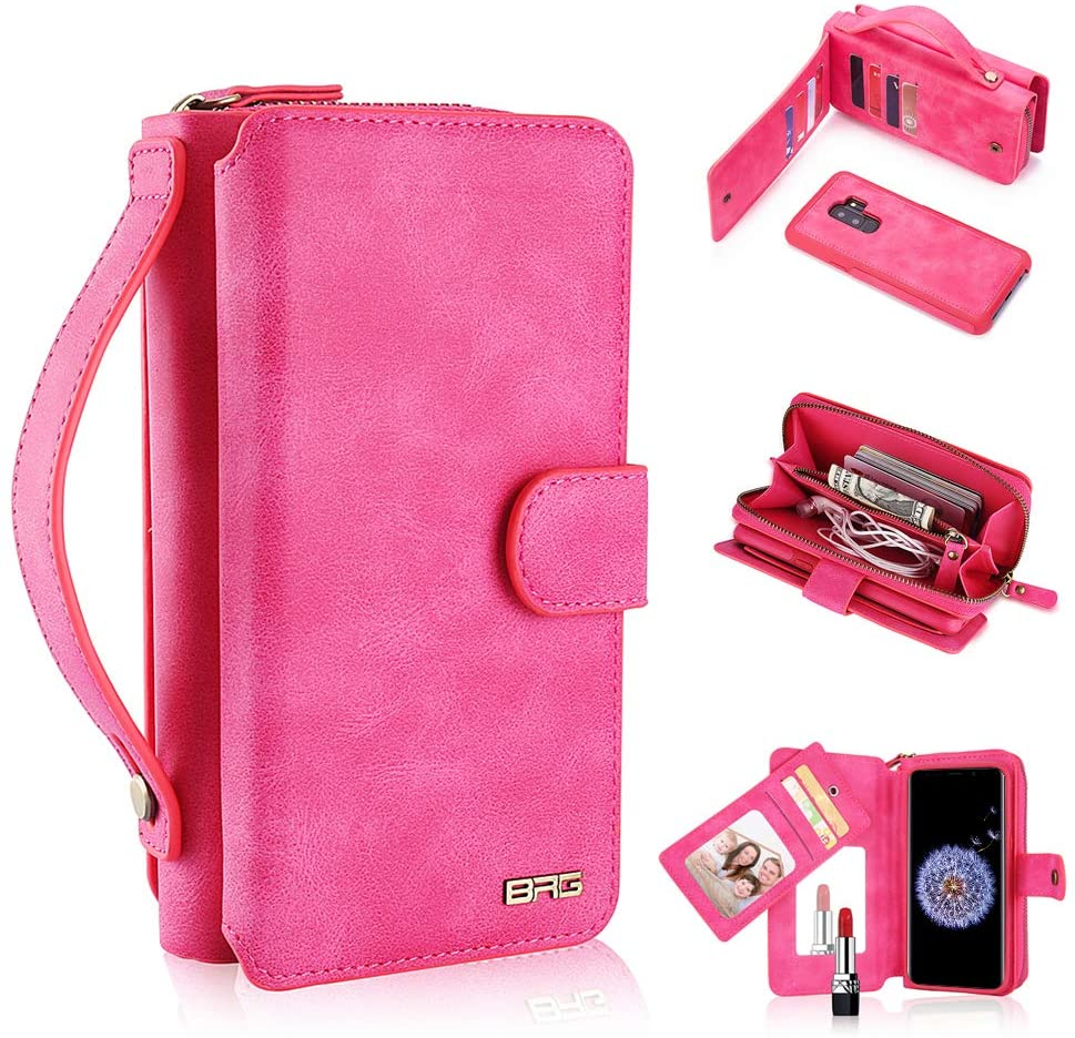 Galaxy S9 Case, 2 in 1 [Magnetic Detachable] Wallet PU Leather Protective Flip Folio Removable Cover Zipper Purse with Hand Strap Clutch with [11 Card Holder] [Mirror] for Samsung Galaxy S9 - Pink