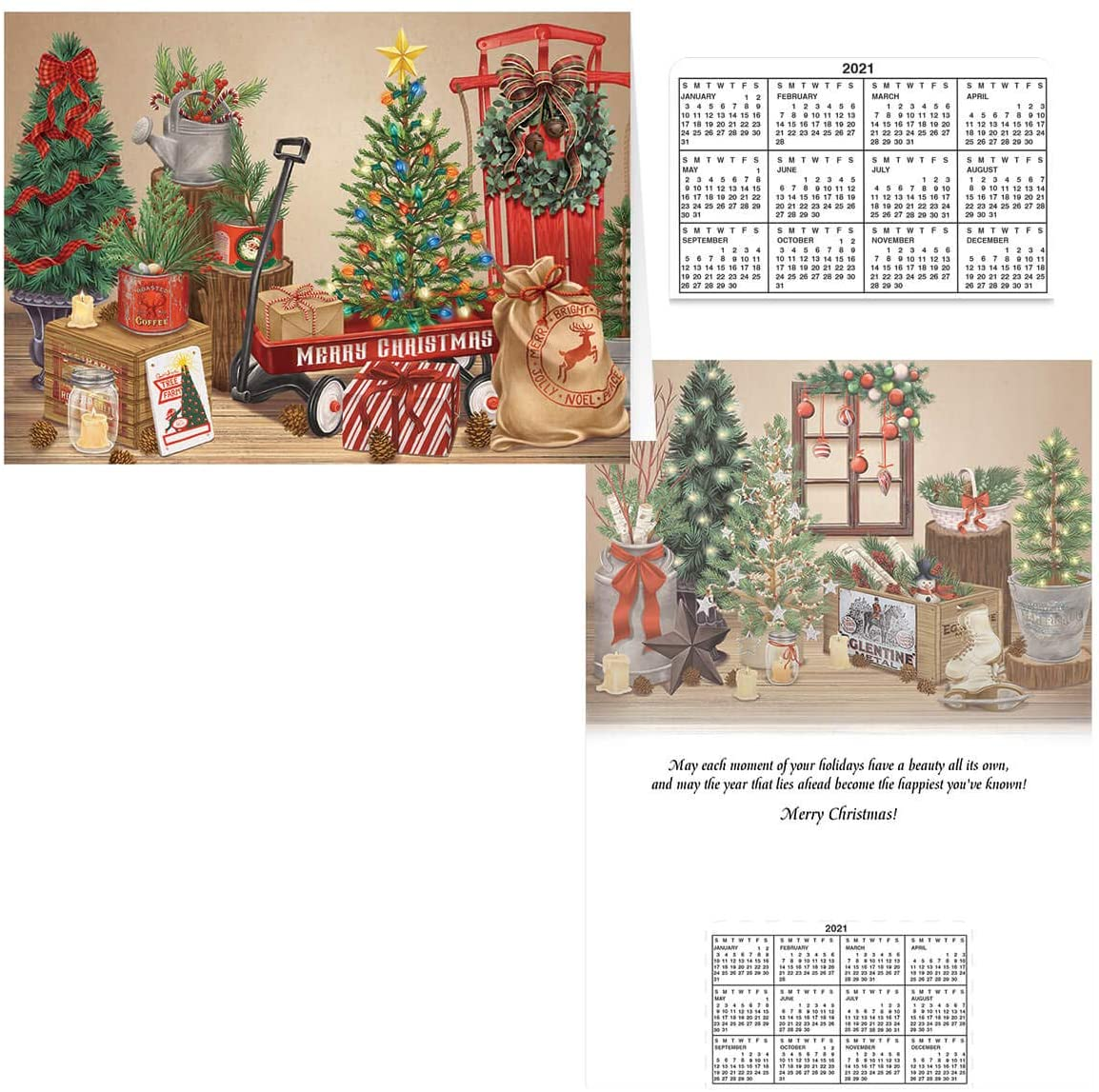 Vintage Christmas Calendar Gift Card Set of 20