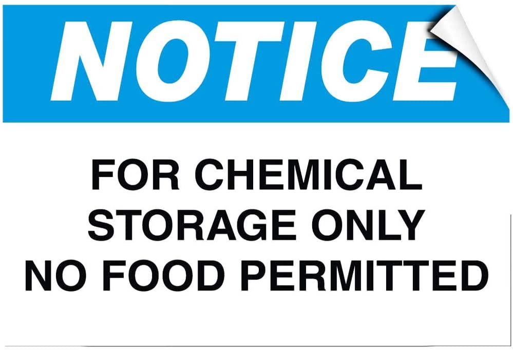 Notice for Chemical Storage Only No Food Permitted Label Decal Sticker 8