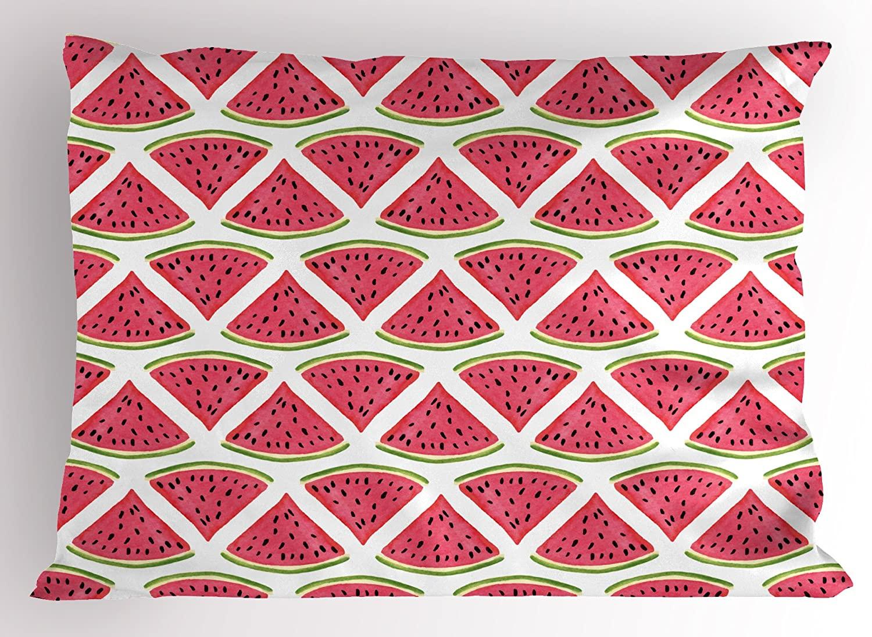 Ambesonne Fruits Pillow Sham, Watermelon Summer Fresh Organic Diet Agricultural Concept, Decorative Standard Size Printed Pillowcase, 26