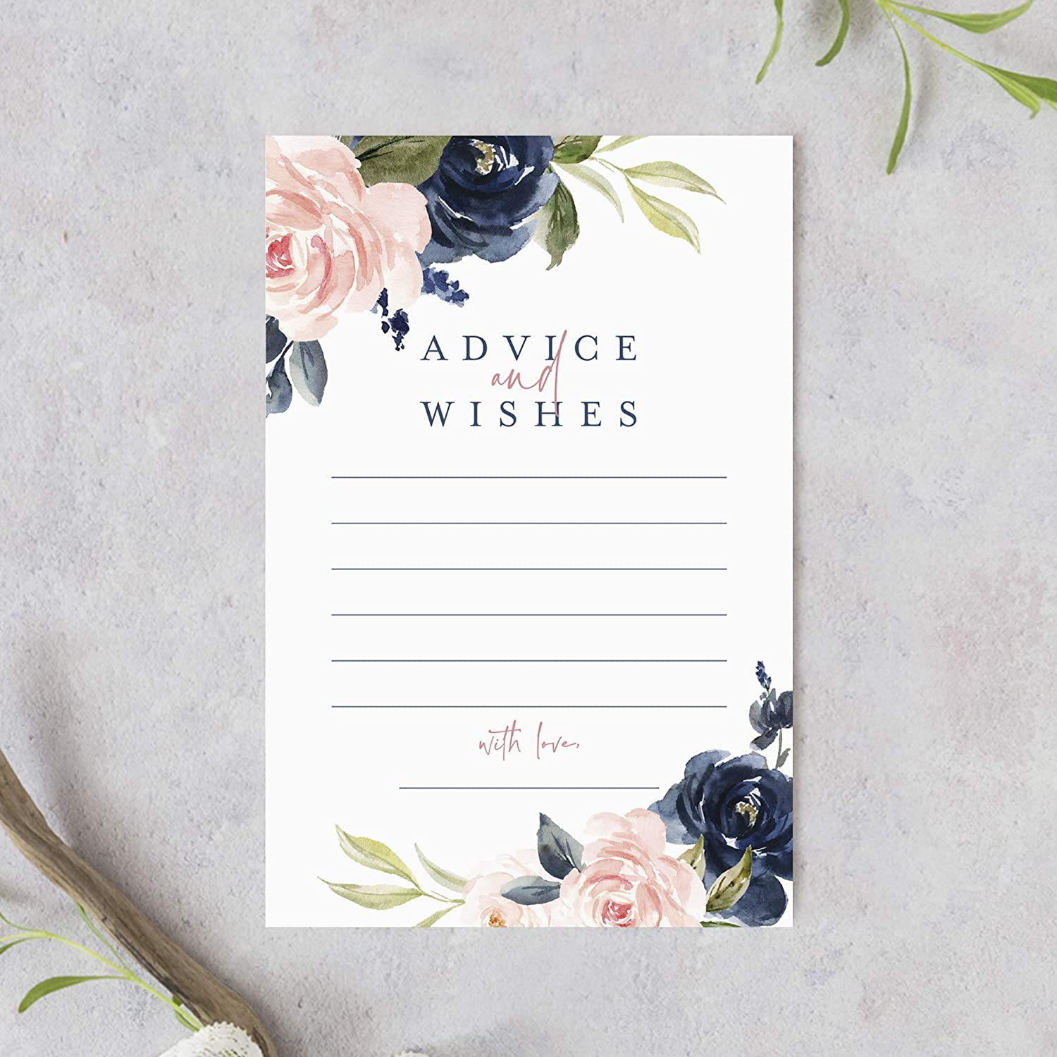 Bliss Collections Navy Floral Advice and Wishes Cards for the Bride and Groom, Perfect for: Bridal Shower, Baby Shower, Graduation, Wedding, Pack of 50 4x6 Cards