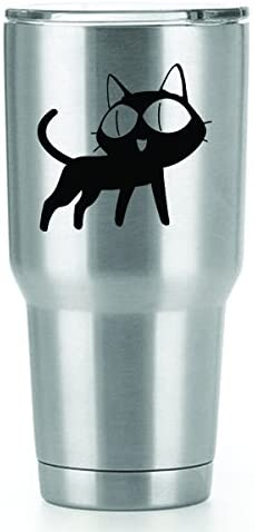 Anime Cat Vinyl Decals Stickers (2 Pack!!!) | Yeti Tumbler Cup Ozark Trail RTIC Orca | Decals Only! Cup not Included! | 2-3 X 3.1 inch Black Decals | KCD1576