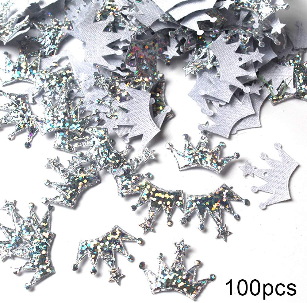 E-House Christmas Supplies 100Pcs Christmas Crown Shape Confetti New Year Wedding Party Table Scatter Decor - Silver