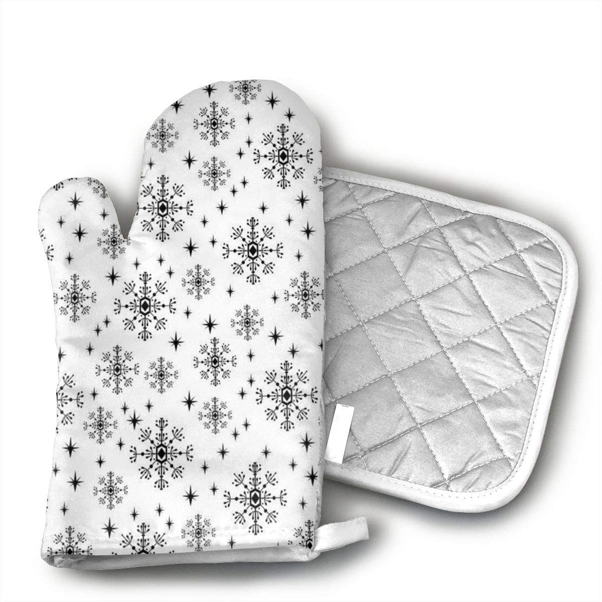 Snowflakes Christmas Holiday Winter Oven Mitts, Non-Slip Oven Mitts, Extra Long Kitchen Mitts, Heat Resistant to Degrees Kitchen Oven Gloves