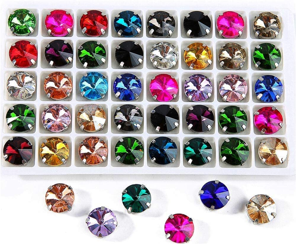 Choupee 72 PCS Sew on Rivoli Rhinestone Gems with Silver Prong Setting Mix Color - Sew on Round Diamond - for Dress, Cloth, Shoes, Swimsuit