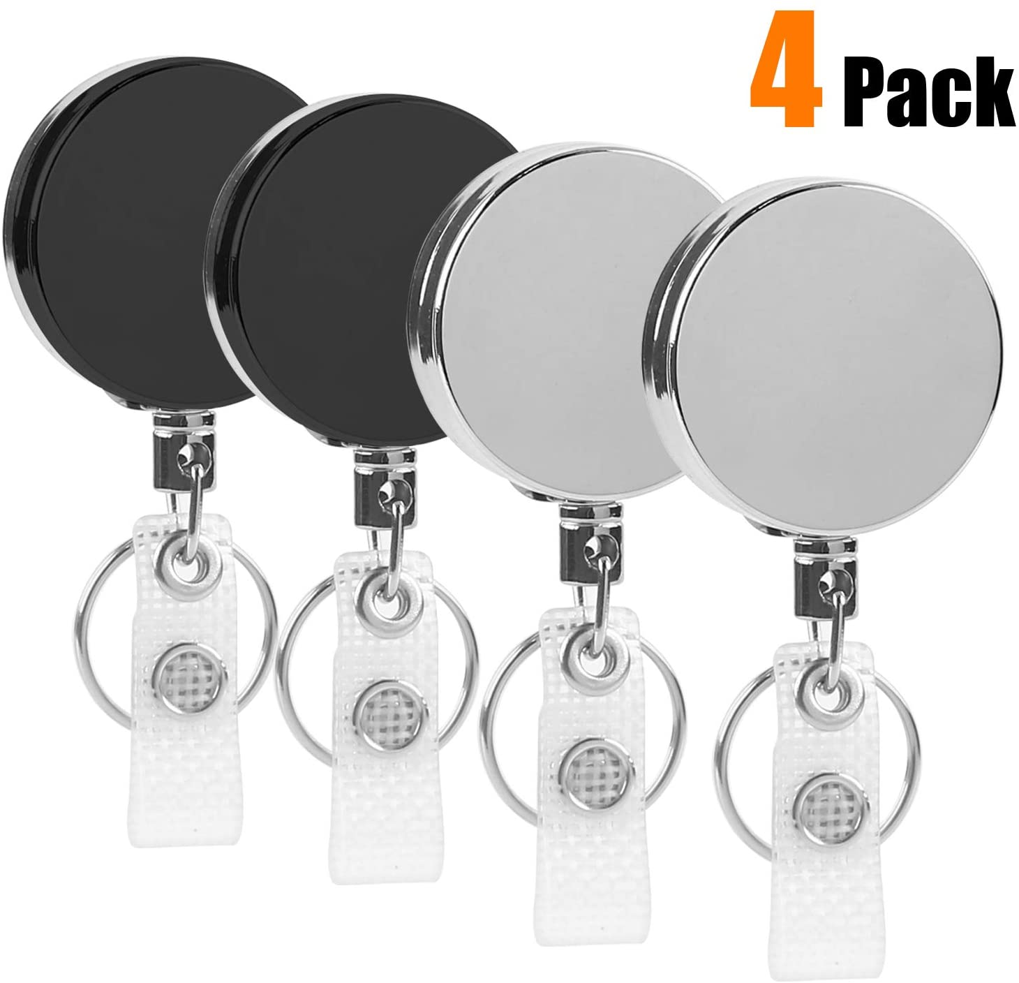 4 Pack Heavy Duty Retractable Badge Holder Reel, Metal ID Badge Reel with Clip & Key Ring for ID Key Card Badge & Name Card Keychain - Belt Clip, 27 inches Steel Wire Cord