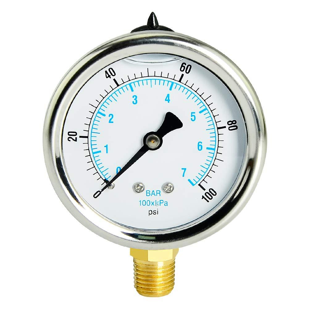 Taisher Liquid Filled Pressure Gauge, 0-100psi/kpa, 304 Stainless Steel Case, 1/4