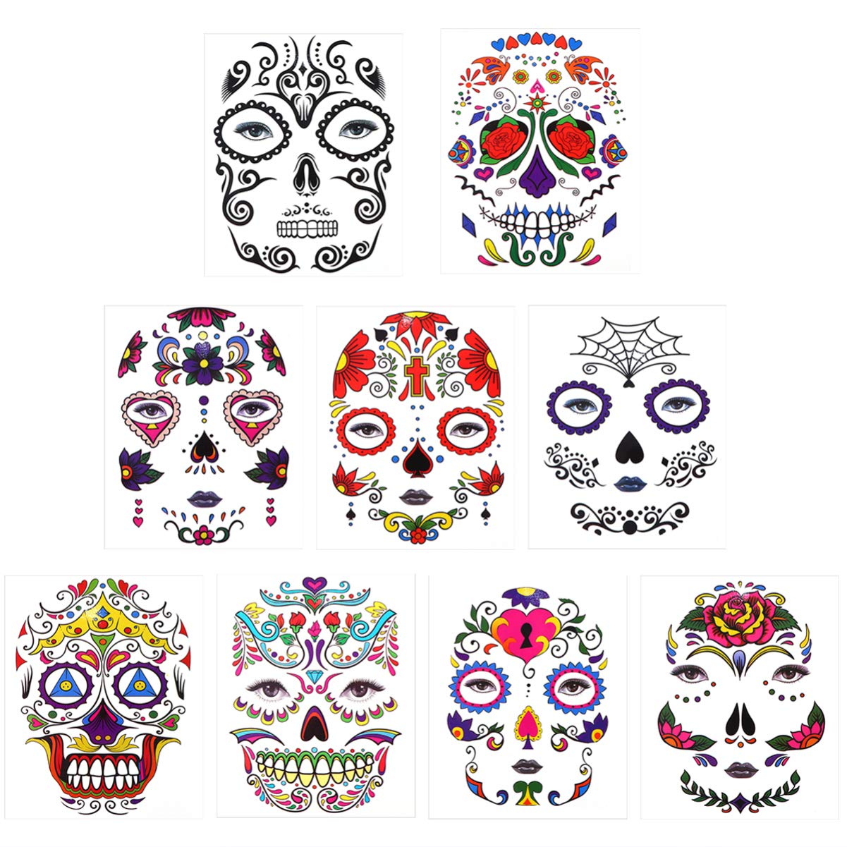 Minkissy 9Pcs Day of the Dead Sugar Skull Tattoos Waterproof Halloween Face Temporary Tattoos Stickers for Adults Kids