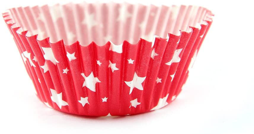 Arant Red Star Mini Cupcake Liners. Colorful Paper, Ideal for Holidays and Parties, 100 Pack.