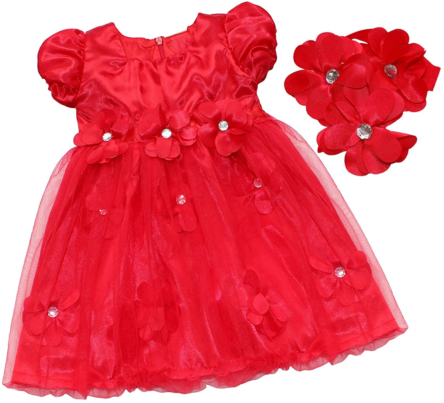 YiZYiF Infant Baby Girls Christmas Vintage Lace Bow Short Puff Sleeves Holiday Party Princess Dress