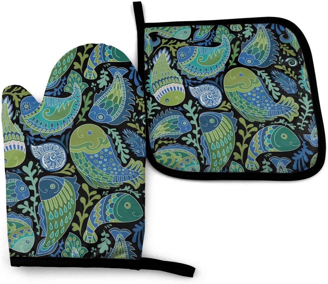 LARGE PARTICLES Sea Turtles Beach Kitchen Set Oven Mitts and Pot Holders Advanced Heat Resistant Hot Pads Cooking Mitt