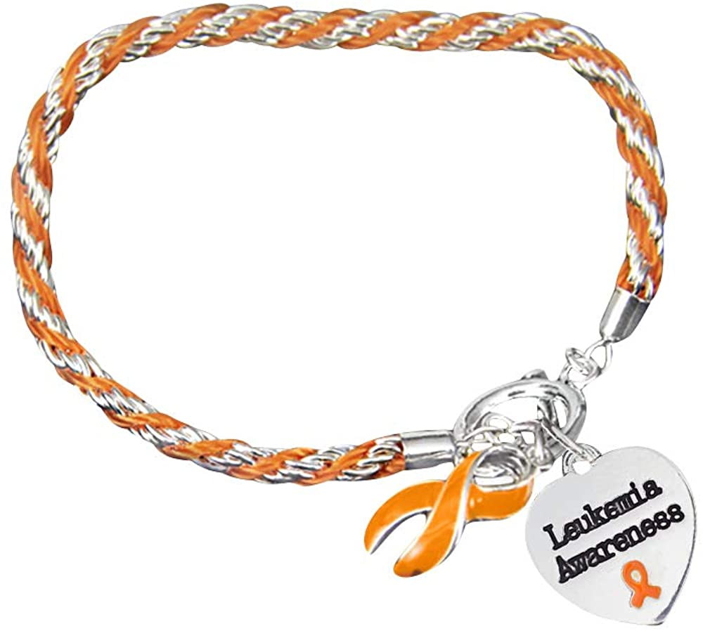 Fundraising For A Cause | Leukemia Awareness Charm Bracelet with Accent String - Orange Ribbon Bracelets for Leukemia Awareness