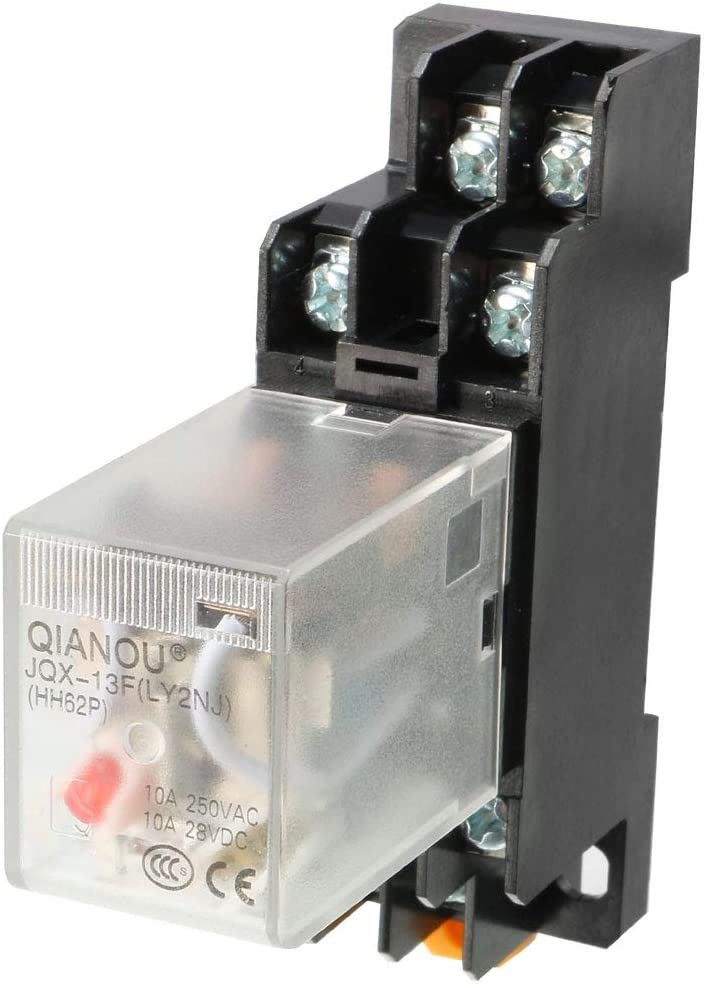 uxcell AC110/120V Coil Red Indicator Light 8 Pin DPDT Electromagnetic General Purpose Power Relay Socket Base JQX-13F