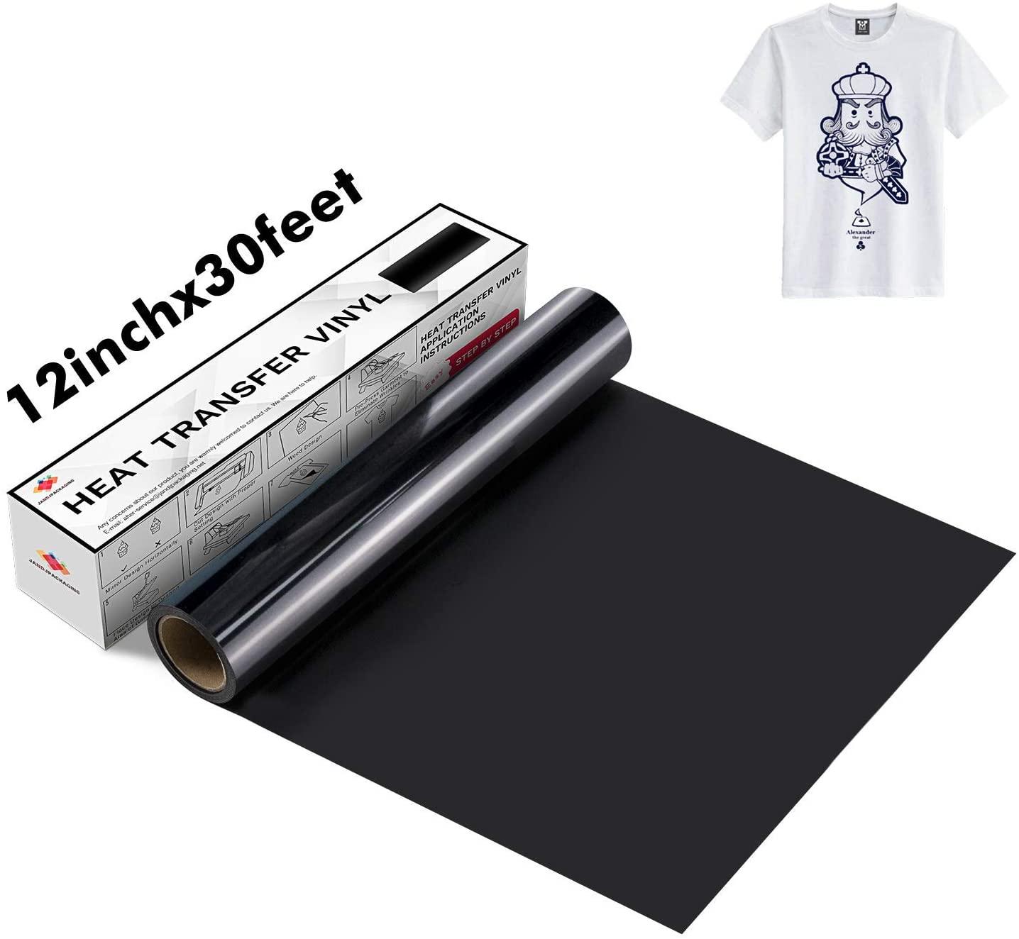 JANDJPACKAGING Black Heat Transfer Vinyl Roll - Black HTV Vinyl Roll 12 x 30FT Iron on Vinyl for Cricut and Silhouette