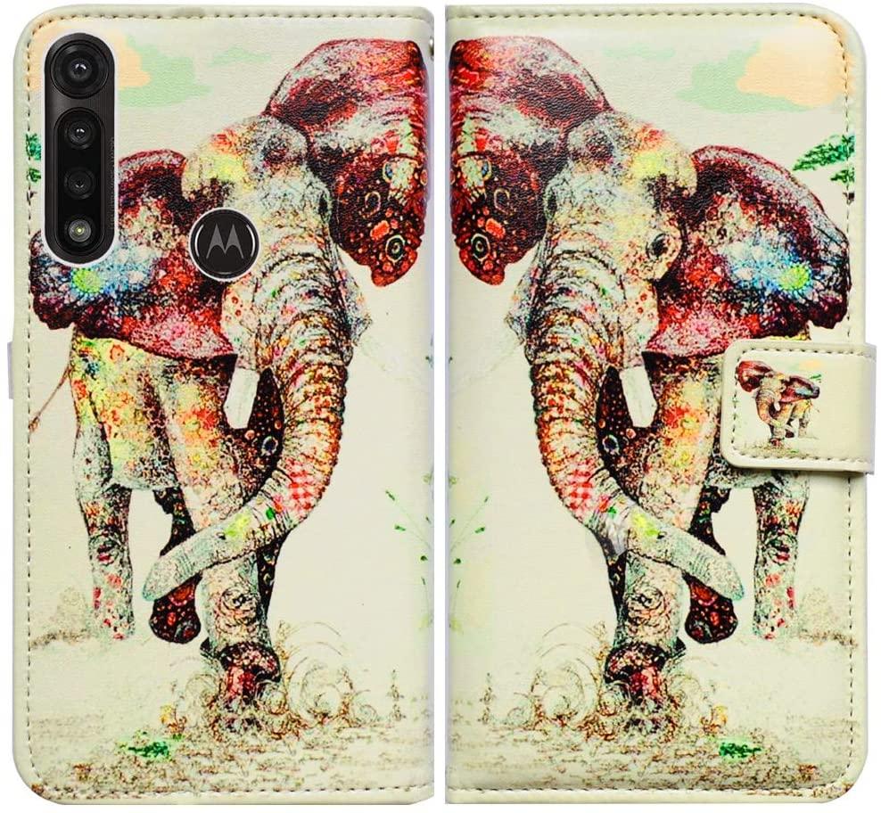 Moto G Power 2020 case,Motorola G Power case,Bcov Elephant Pattern Leather Flip Case Wallet Cover with Card Slot Holder Kickstand for Motorola Moto G Power