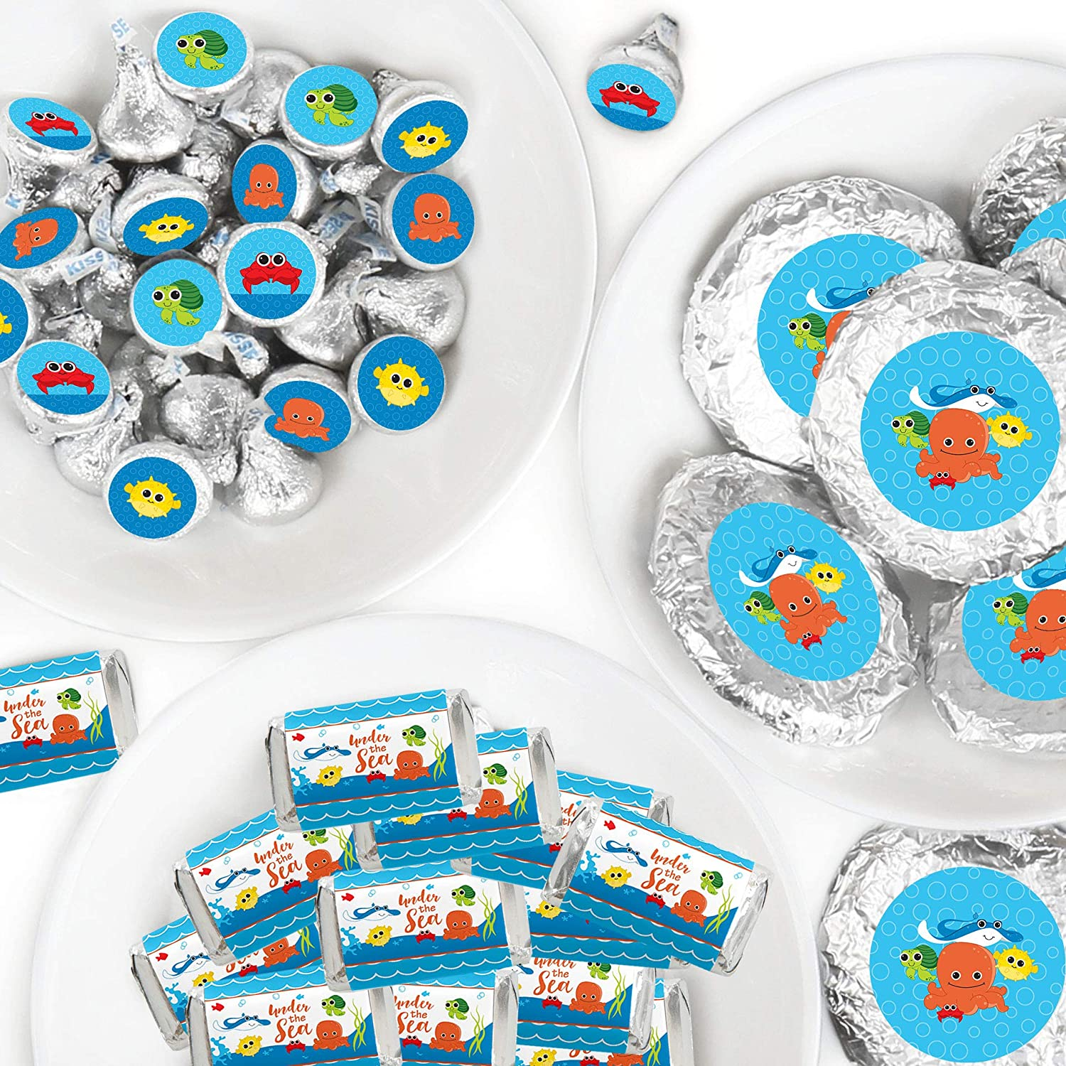 Big Dot of Happiness Under the Sea Critters - Mini Candy Bar Wrappers, Round Candy Stickers and Circle Stickers - Baby Shower or Birthday Party Candy Favor Sticker Kit - 304 Pieces