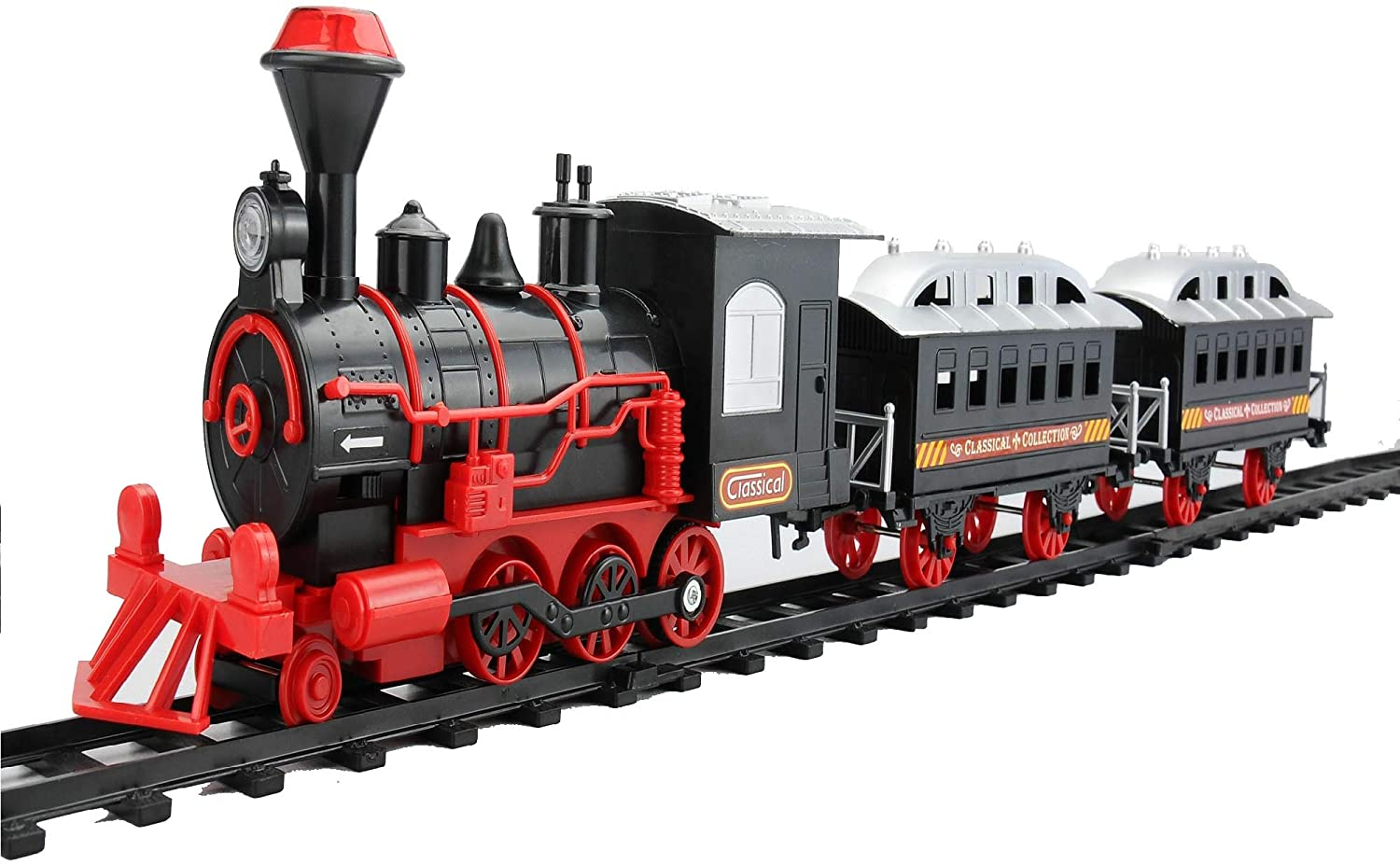 Northlight 13-Piece Red and Black Battery Operated Lighted and Animated Classic Train Set with Sound