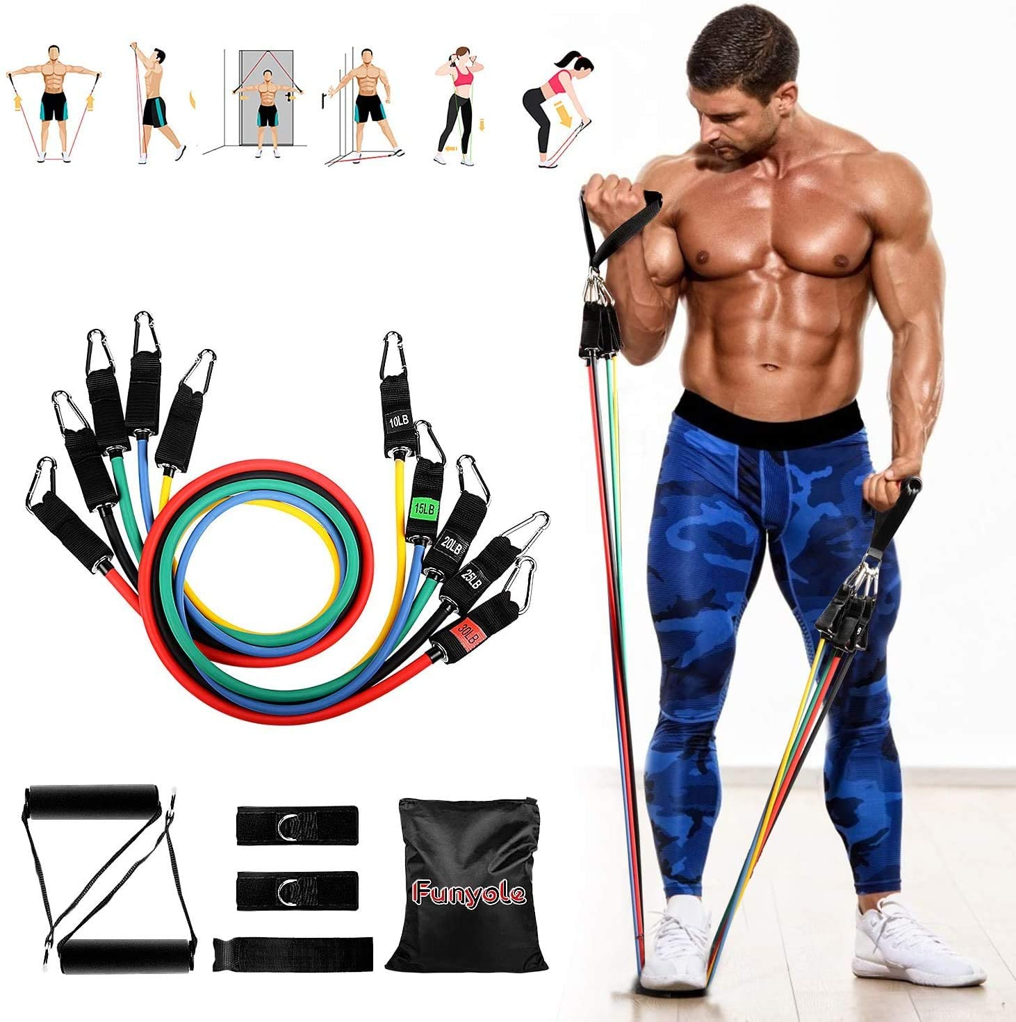YF Funyole Resistance Bands Set, 11 Pack Exercise Bands Workout Resistance Bands with Handles, Door Anchor, Portable Bag, Leg Ankle Straps for Fitness Training, Physical Therapy, Home Workouts, Yoga
