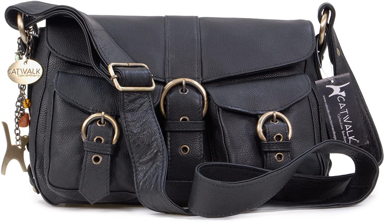 Catwalk Collection Handbags - Ladies Leather Cross Body Bag - Adjustable Shoulder Strap - LOUISA