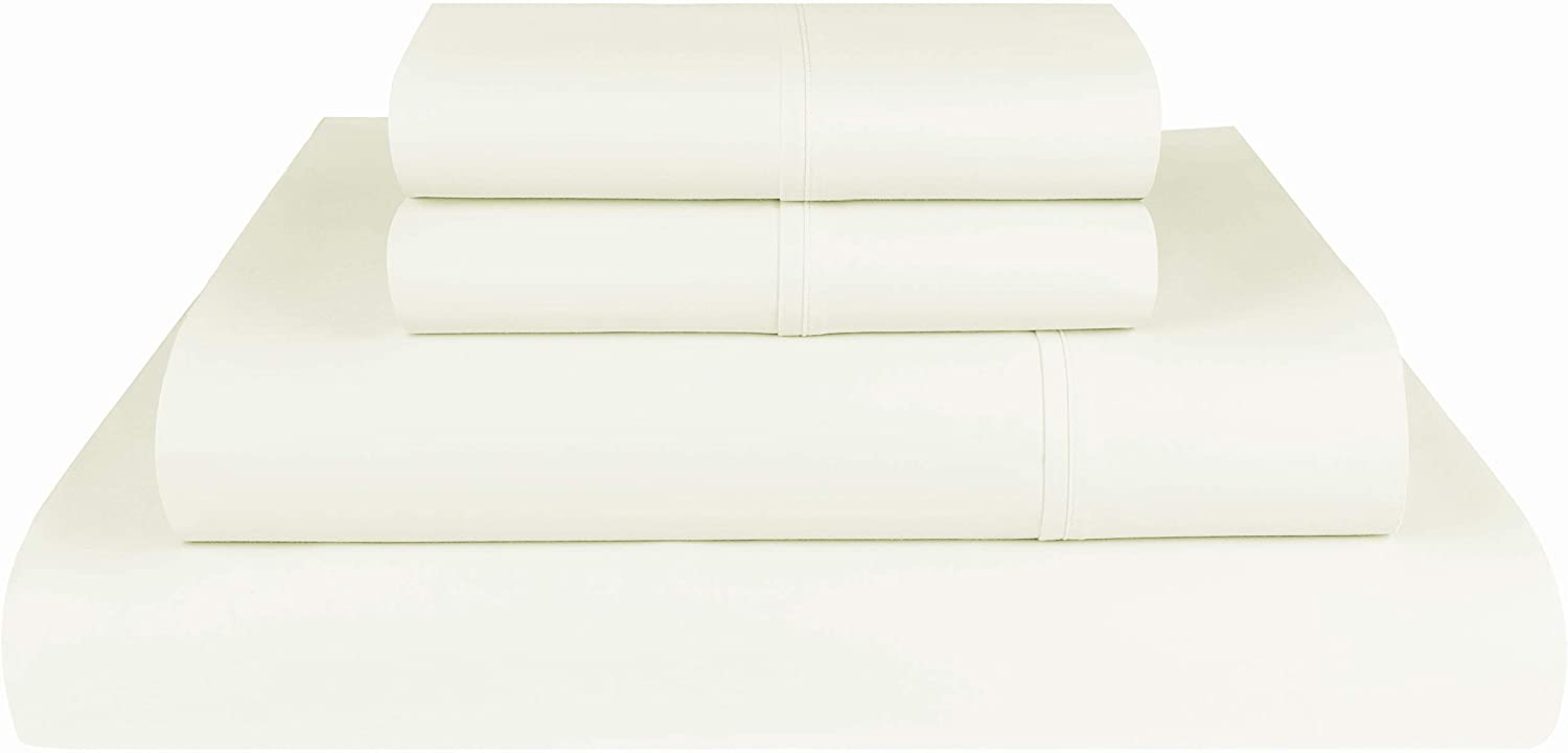 Threadmill Home Linen 1000 Thread Count 100% Supima ELS Cotton Sheet Set, King Sheet, Super Luxury Bedding, King 4-Piece Set, Ivory, Smooth Sateen Weave.