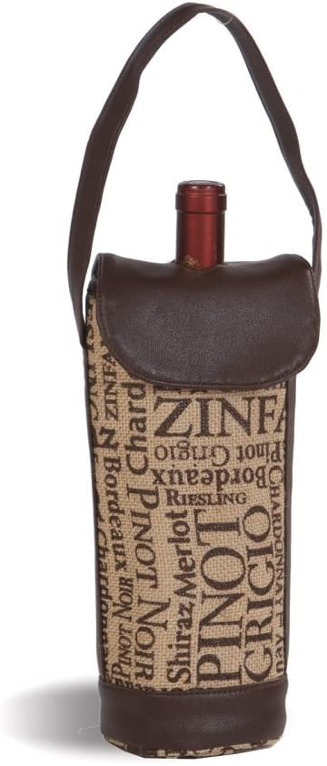 Thermal Insulated Burlap Wine Bottle Holder By Picnic Plus