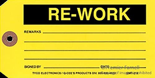 QMT212 - Label, Rework, Write On, Tag, 146.1mm x 73mm, Paper, Black on Yellow, 100 (QMT212)