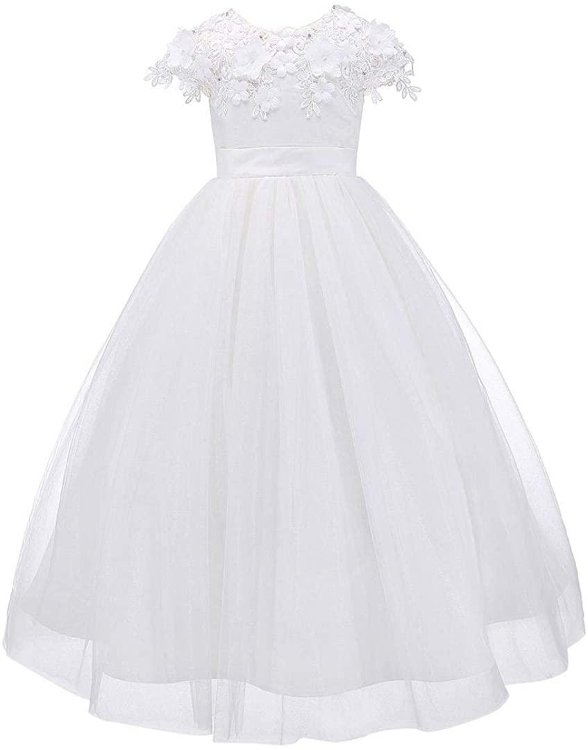 Bow Dream Tulle 3D First Communion Dresses Wedding Pageant Flower Girl Dress Ivory White
