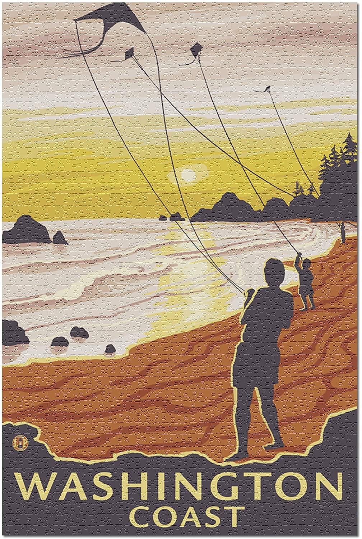 Beach and Kites - Washington Coast (Premium 1000 Piece Jigsaw Puzzle for Adults, 19x27)