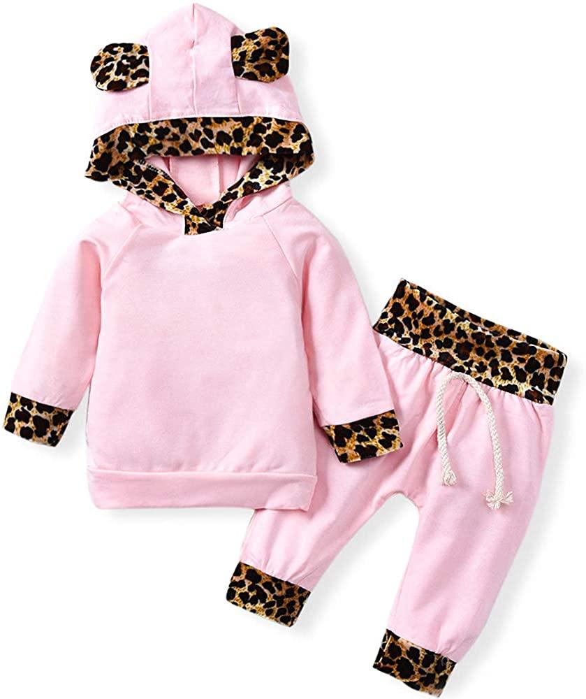 Newborn Infant Baby Girls Pink Leopard Hoodie T-Shirt Top + Pants Outfits Set 2Pcs