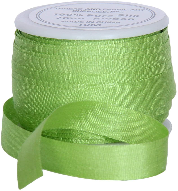Threadart 100% Pure Silk Ribbon - 7mm Lime Green - No. 642-3 Sizes - 50 Colors