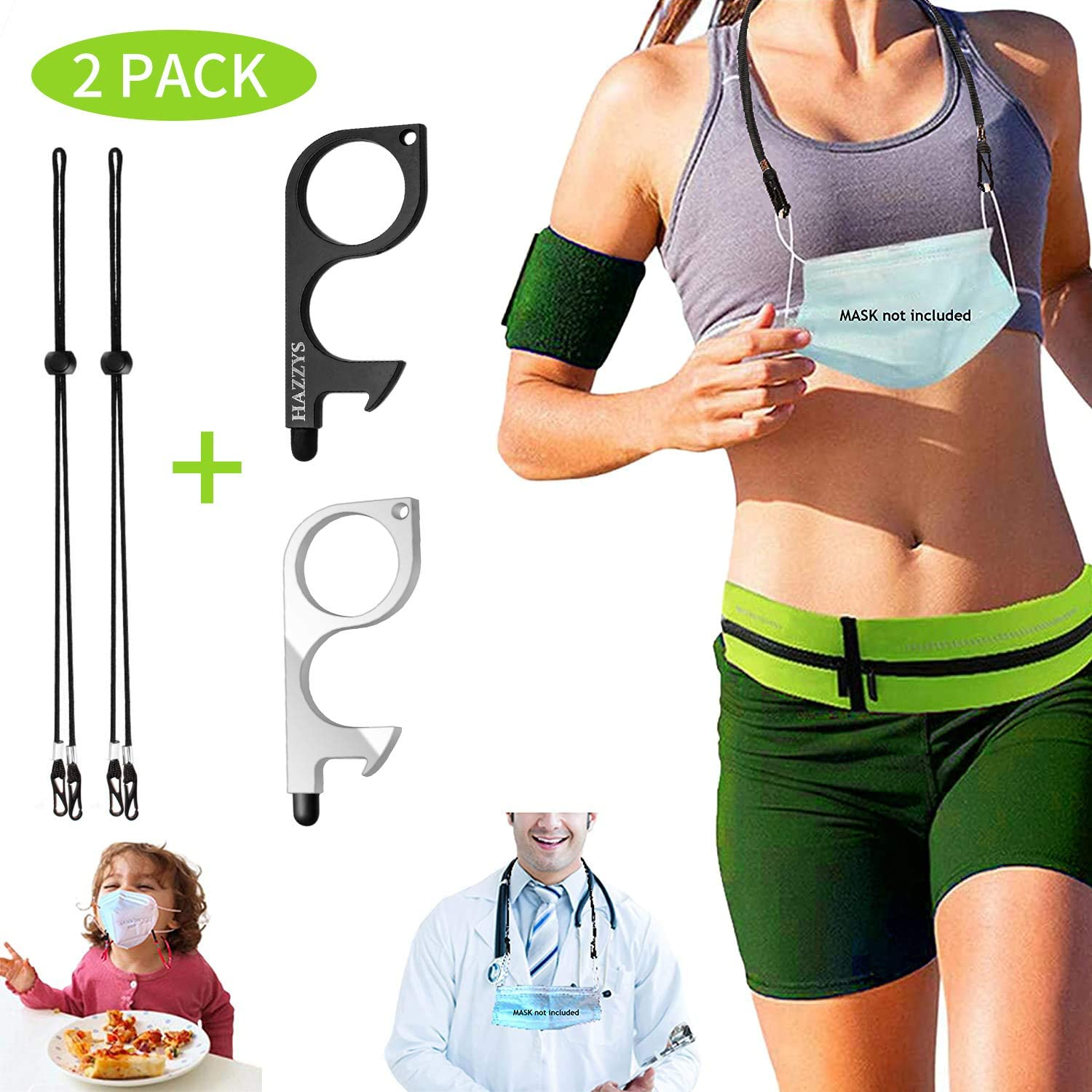 HAZZYS Adjustable Kids/Adults Lanyards with Clips with Safety Breakaway Clasp Ear Pressure Relief Extender Strap Handy with Holder Around The Neck for Kids Women Men