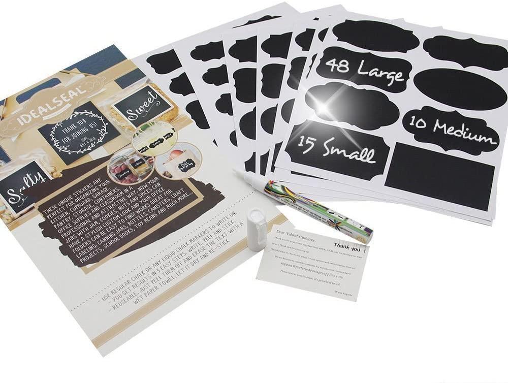 Chalkboard Labels Bundle Saves You Money: 365 Stickers + Erasable 5 White Chalk Marker. Best Large Reusable Labels+Liquid Chalk Pen Decorate Pantry Storage Office (5 Packs (365 Labels)+5 Markers)