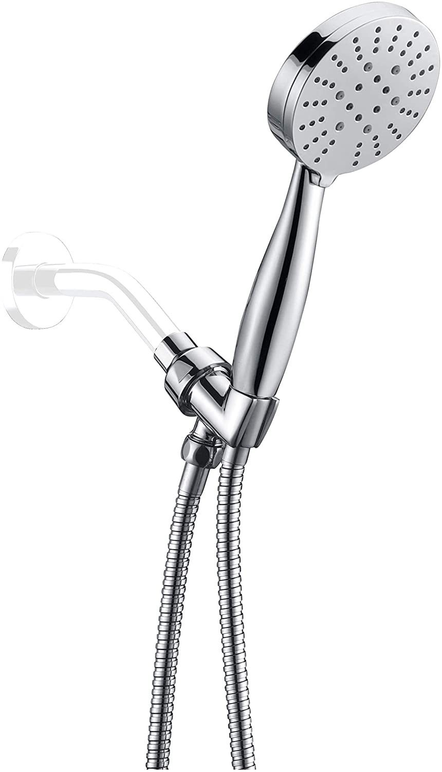 All Metal Multi-Function Hand Held Shower Head with Hose and Holder, Chrome | 3 High Pressure Sprays: Wide Spray, Massage, Mist | 2.5 GPM Flow Rate with Removable Restrictor
