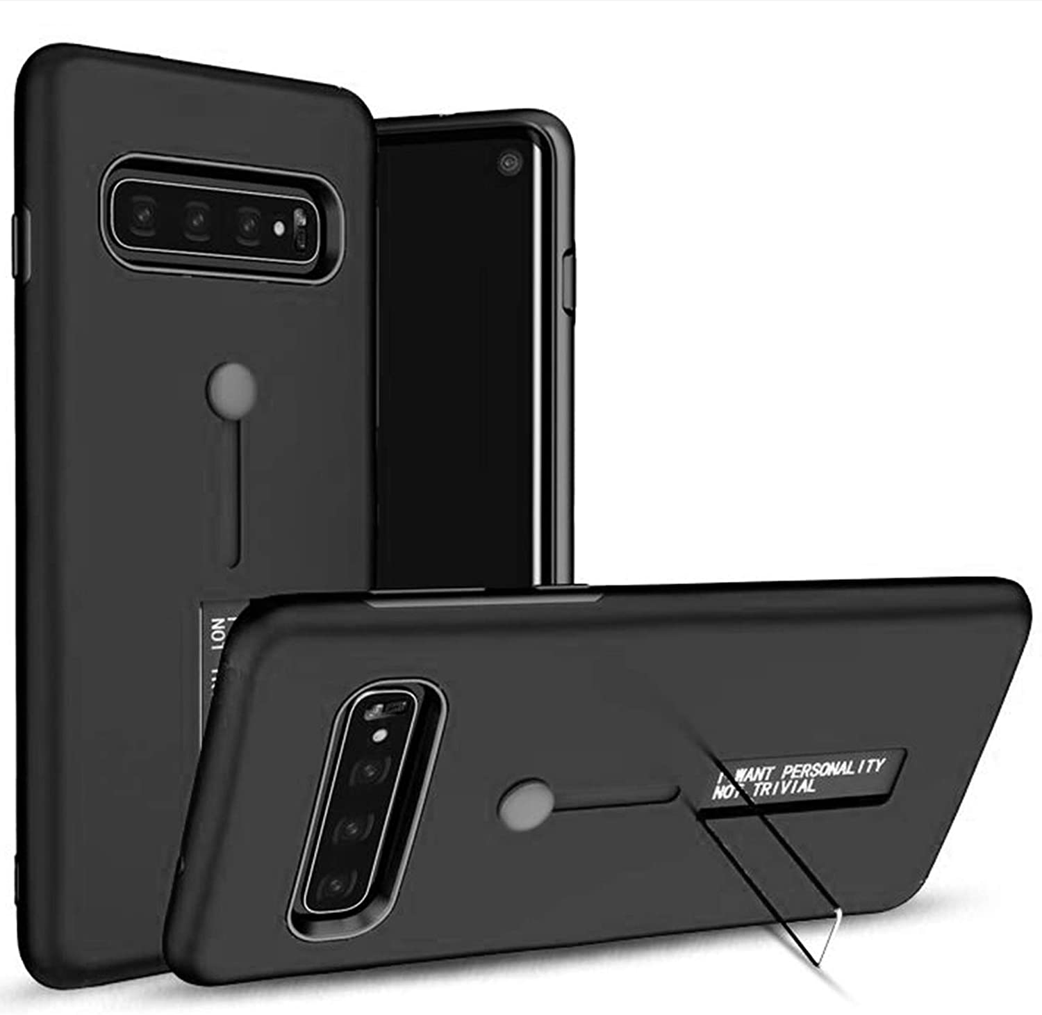 NFarmour S10 Case with Kickstand -Samsung Galaxy S10 Case - Full Body Cover Case Shockproof for S10 Phone Case Ultra Slim Rugged Armor (Black, S 10)