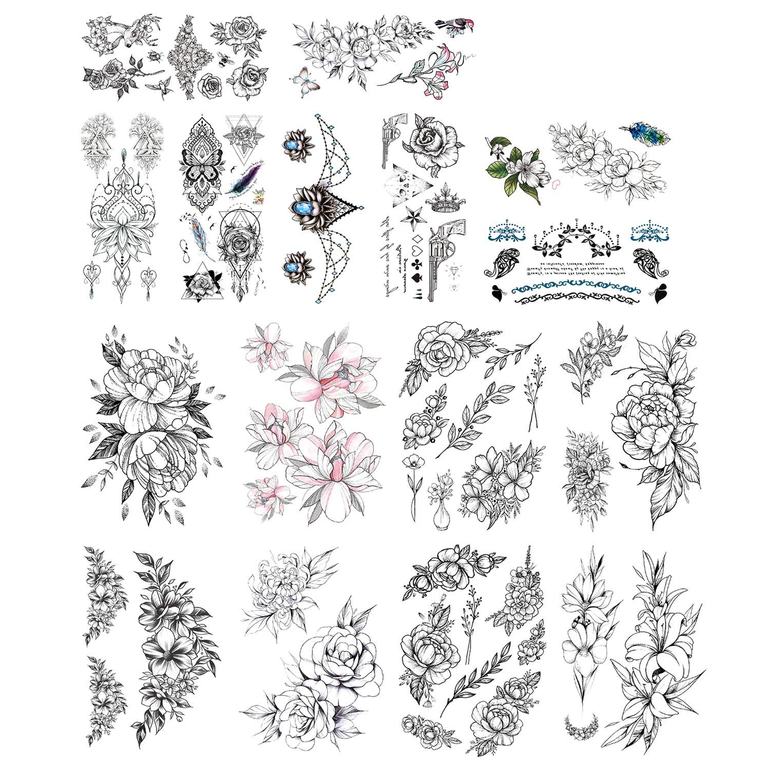 DaLin Sexy Floral Temporary Tattoos for Women Men Flowers Collection (Black Flowers Collection 2)