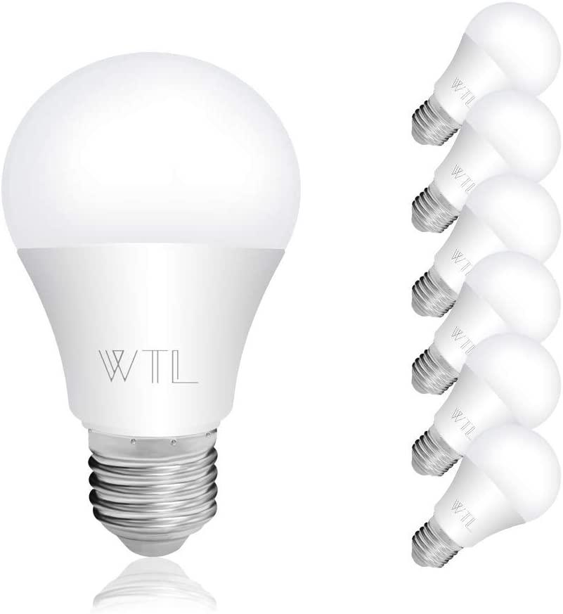WTL 6 Pack A19 LED 100 watt Light Bulb Equivalent 15w Warm White 3000k 1600Lm Non-Dimmable LED Bulbs Medium Base (E26) for Living Room, Bedroom, Ceiling Light & Commercial Lighting