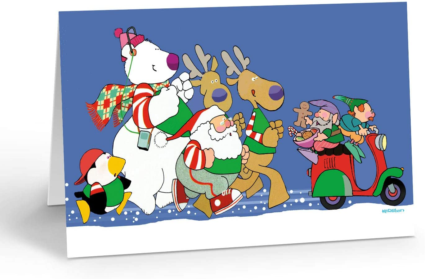 Running Christmas Cards - 18 Jogging Christmas Cards & Envelopes - Funny Workout Cards, Excercise