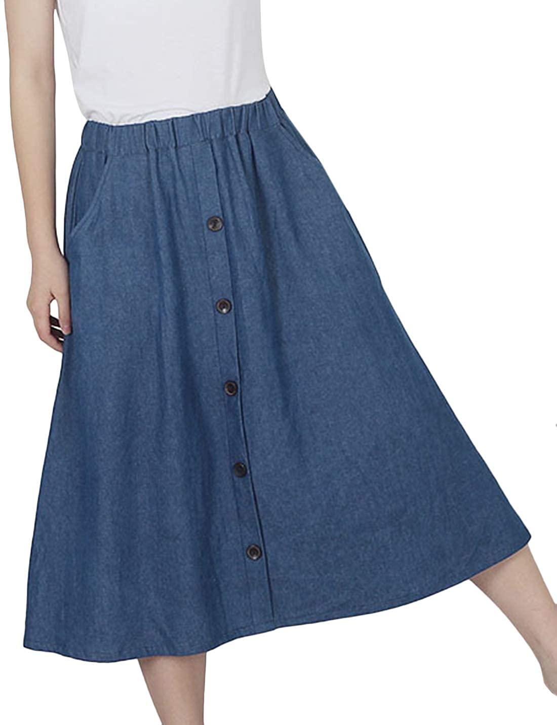 Tanming Womens Summer Retro Elastic Waist Button Mid Long Midi Pleated Denim Skirt