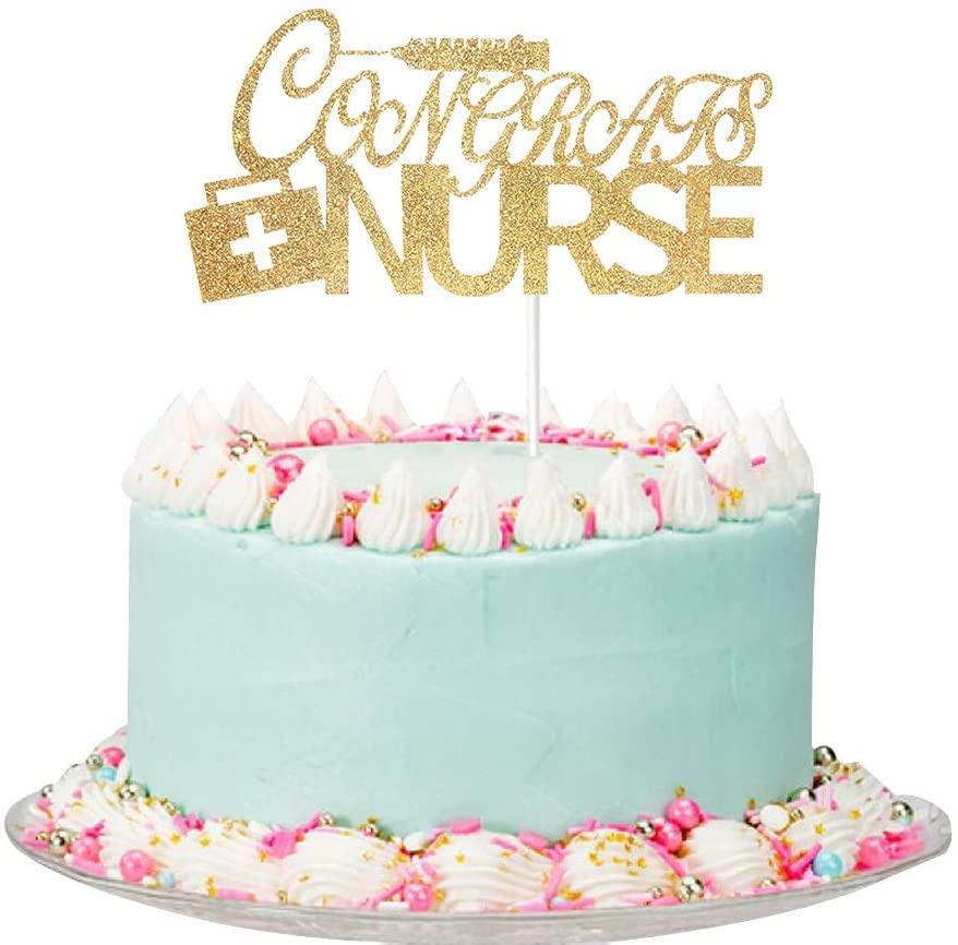 Gold Glitter Congrats Nurse Cake Topper - Nurse Graduation Cake Topper - Nurse Graduation Party Decorations - Nursing Graduation Party Supplies