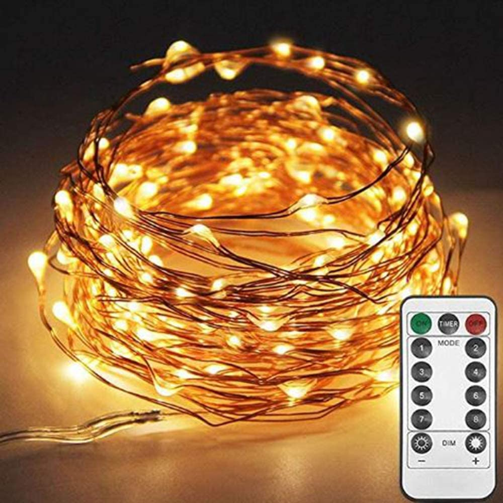 100 LED Battery String Lights with Remote Control (8 Modes) Decoration for Living Room Bedroom Garden Patio Indoor Outdoor Wedding Party Christmas,3AA Battery Opearted (Warm White with Controller)