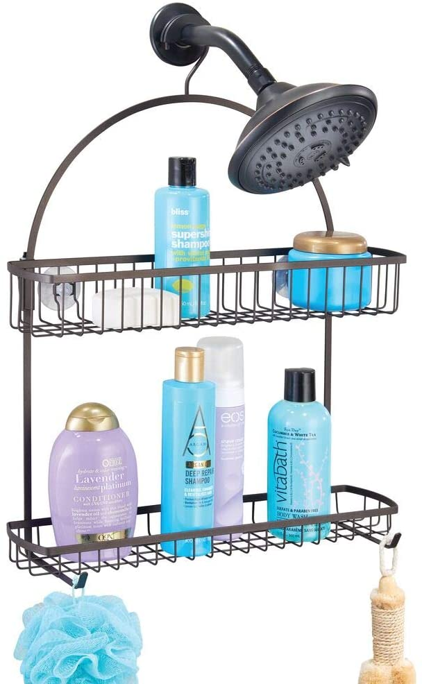 mDesign Extra Wide Metal Bathroom Tub & Shower Caddy, Hanging Storage Organizer Center with Built-in Hooks and Baskets on 2 Levels for Shampoo, Body Wash, Loofahs - Rust Resistant - Bronze