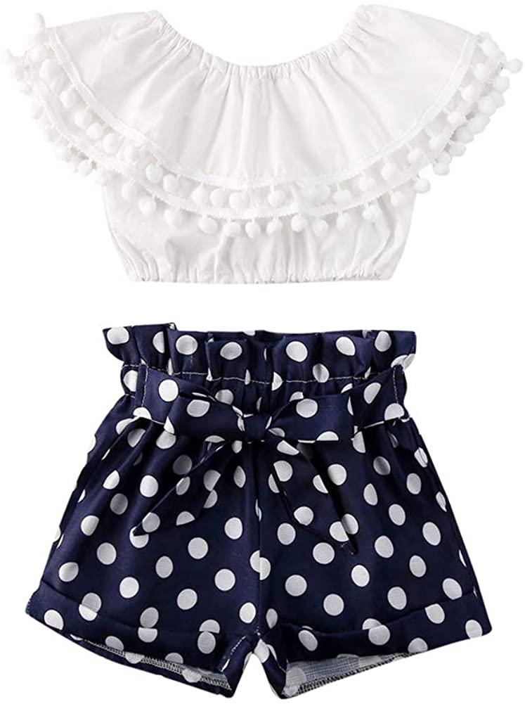 Toddler Baby Girl Summer Clothes Ruffle Off Shoulder Crop Top T-Shirt+Bowknot Polka Dot Shorts 2PCS Outfit Set