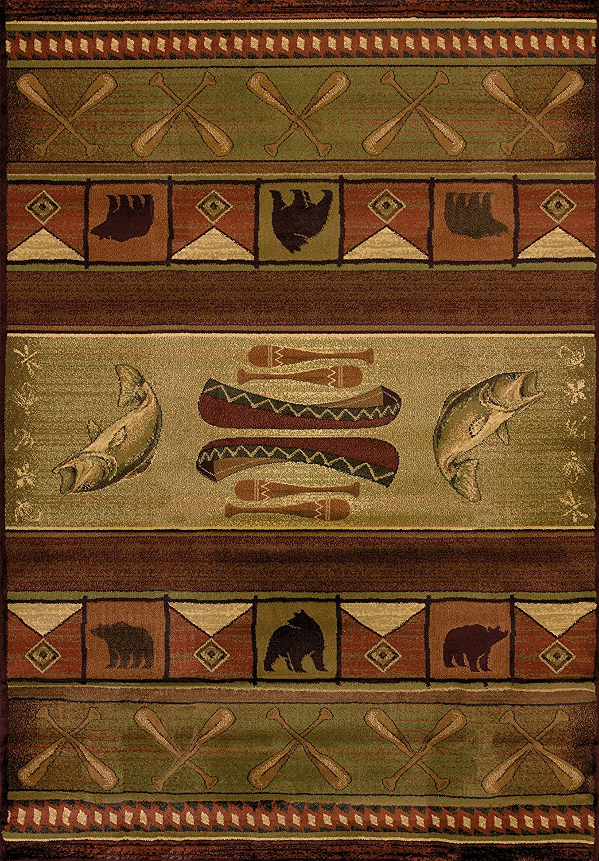 United Weavers of America Genesis Collection Colorado Heavyweight Heat Set Olefin Rug, 1-Feet 11-Inch by 7-Feet 4-Inch, Lodge