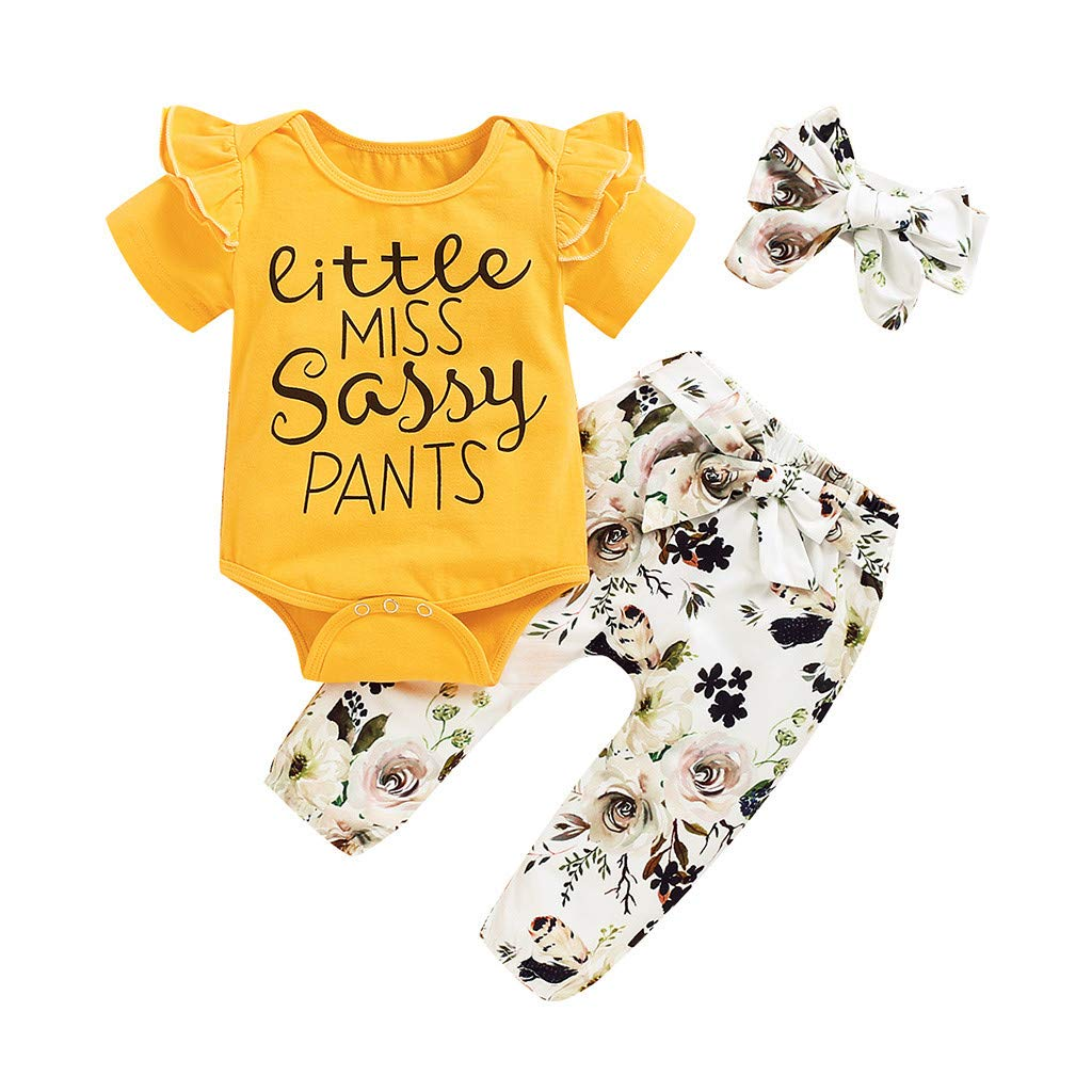 Baby Top & Pants Set, Infant Baby Girls Letter Print Romper Bodysuit+Floral Print Pants Outfits Set, Baby Clothes Onsale Yellow 12-18 M