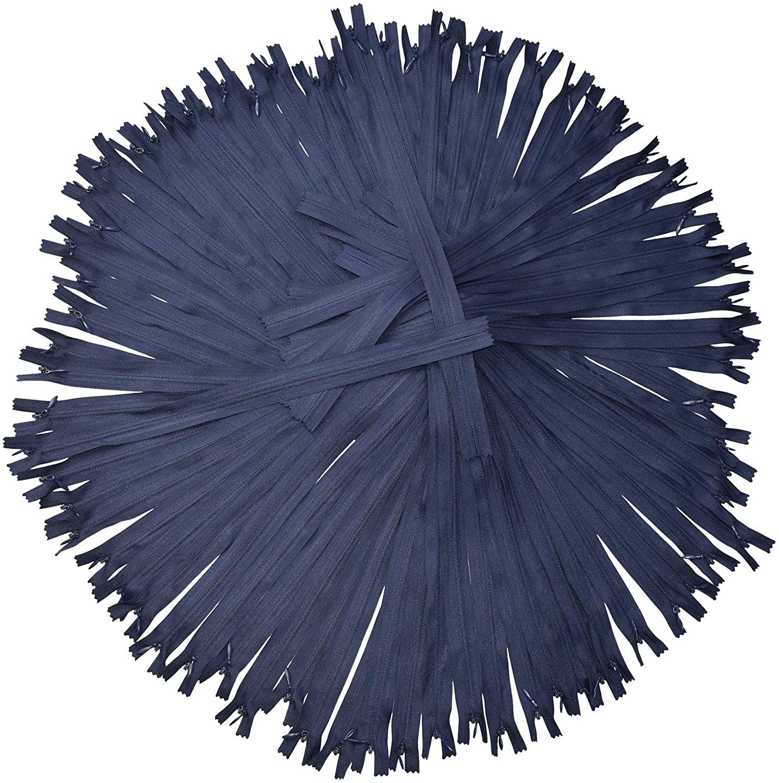Navy Blue Nylon Invisible Zipper for Sewing, 34 Inch Bulk Hidden Zipper Supplies; by Mandala Crafts