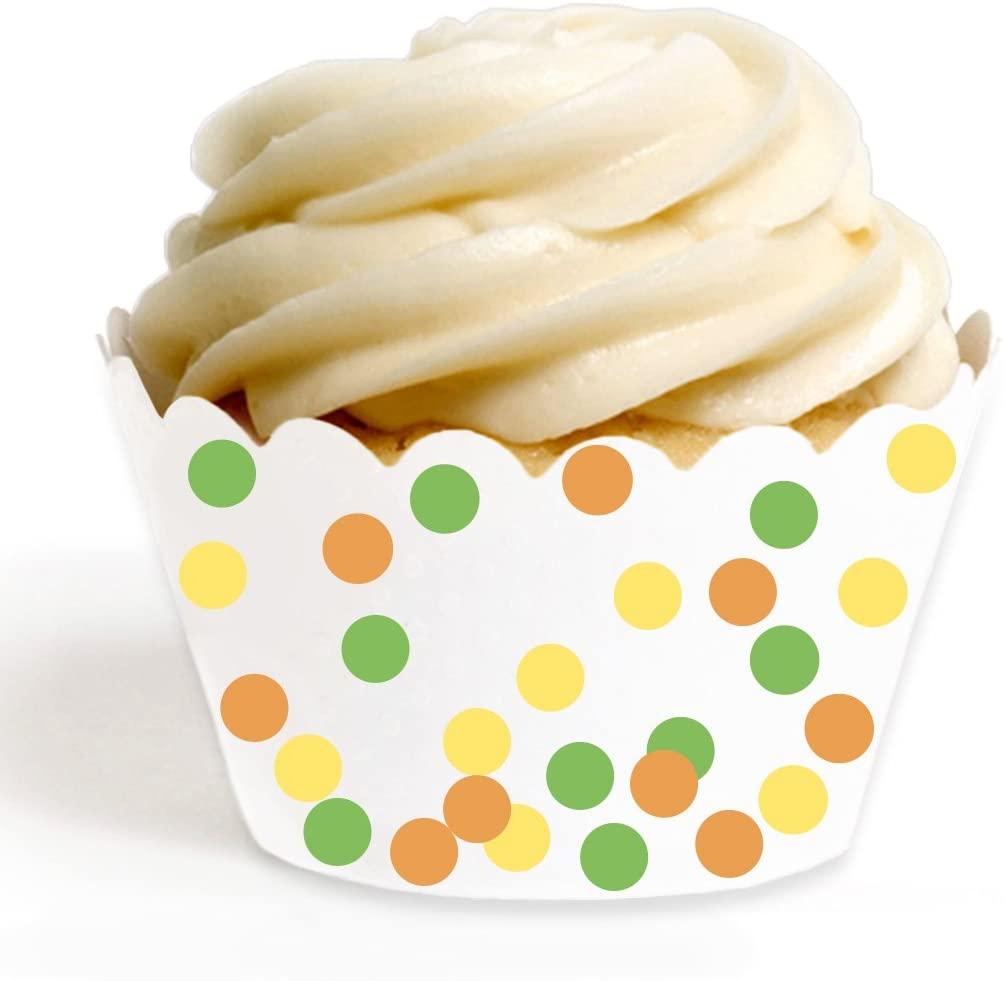Andaz Press Birthday Party Cupcake Wrappers Decorations, Yellow, Orange, Kiwi Green, 24-Pack, Bulk Decor Supplies, Jungle Safari Baby Shower Theme Birthday Supplies