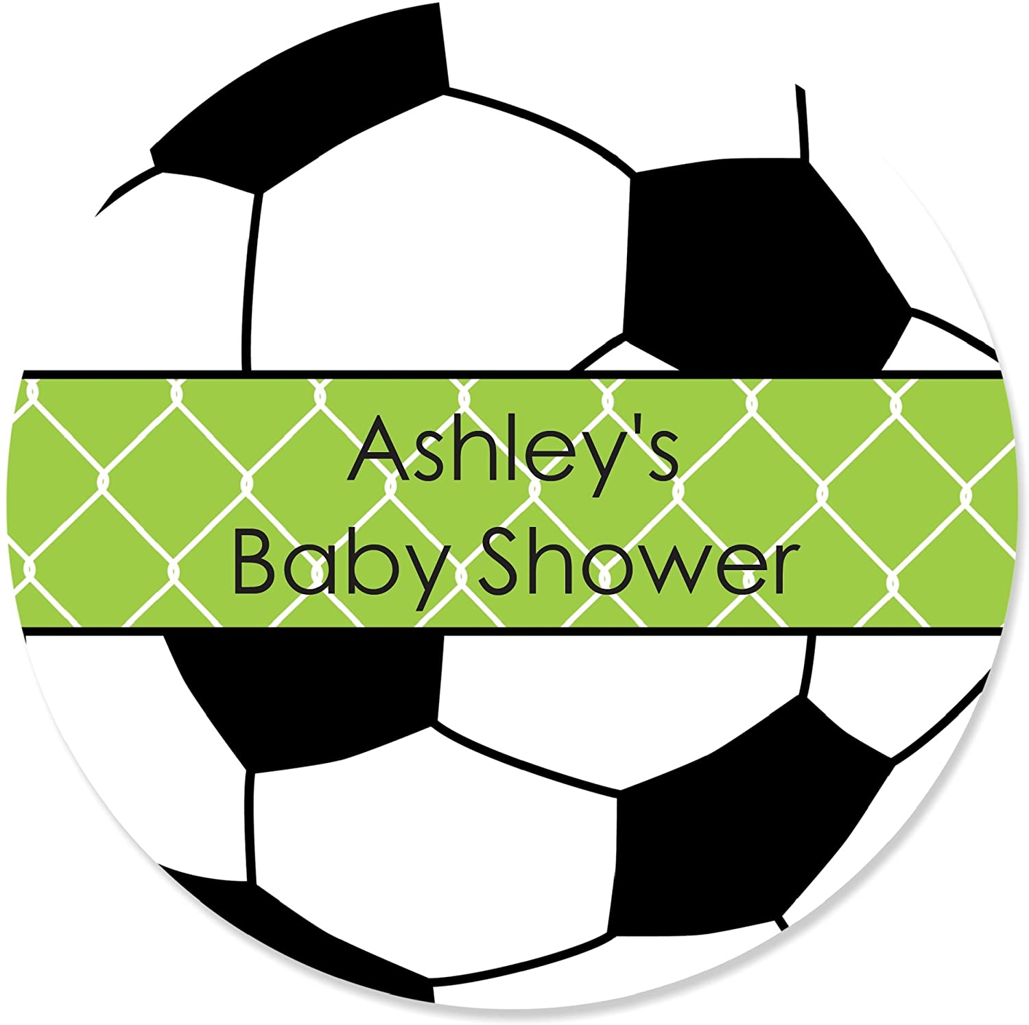 Big Dot of Happiness Custom Goaal - Soccer - Personalized Baby Shower or Birthday Party Favor Circle Sticker Labels - Set of 24