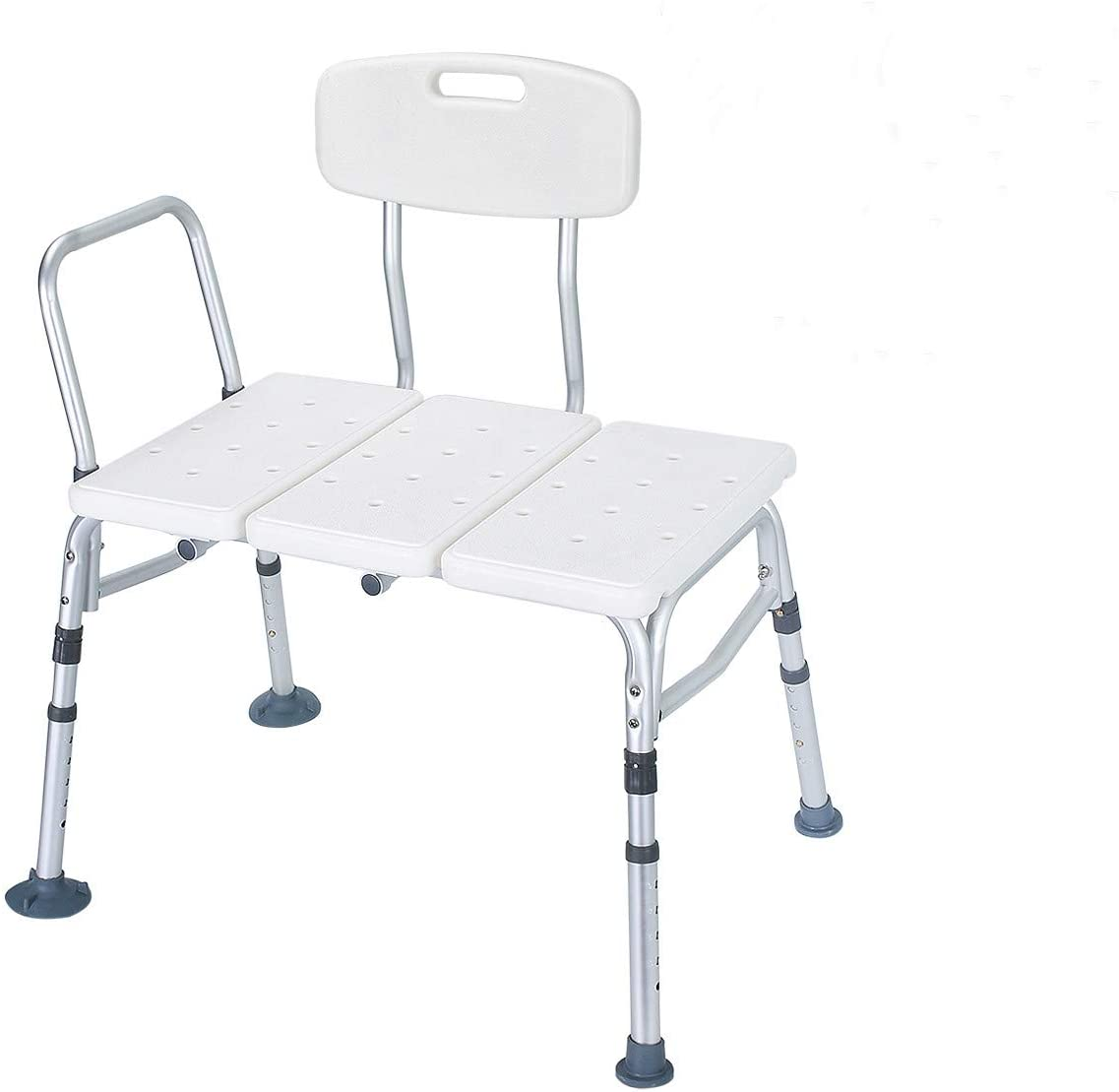 Health Line Massage Products Tool-Free 400 lbs Transfer Bench, Tub Adjustable Shower Bath Chair, w/Reversible Back & Non-Slip Feet, Great for Elderly, Disabled, Seniors & Bariatric - w/Bonus Scruber