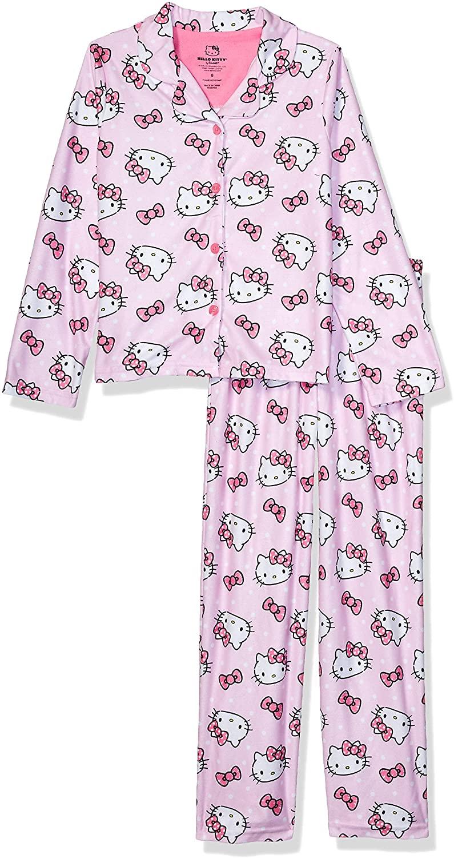 Hello Kitty Girls' 2-Piece Button Front Pajama Set